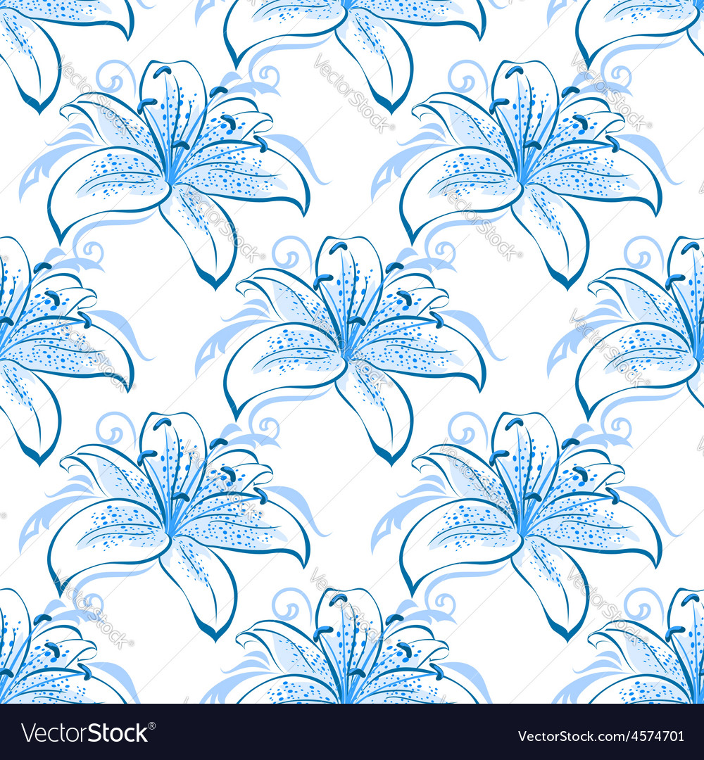 Light Blue Lily Floral Seamless Pattern Royalty Free Vector