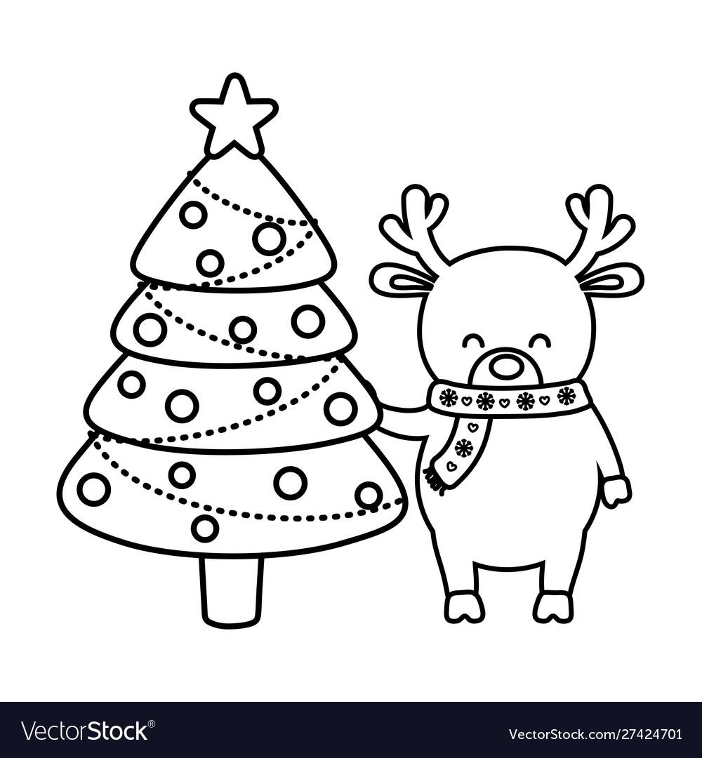 Reindeer with tree balls decoration merry