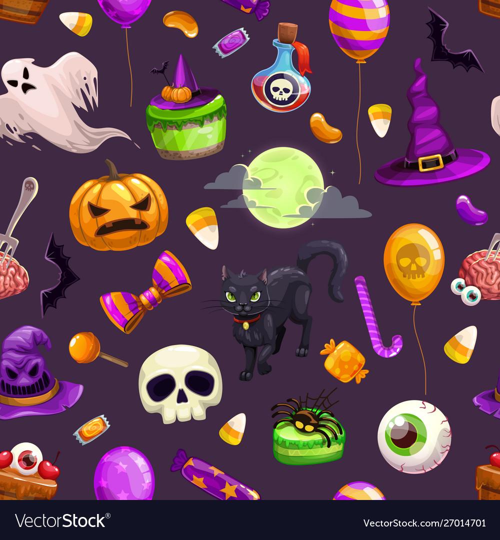 Seamless pattern with cartoon halloween attributes