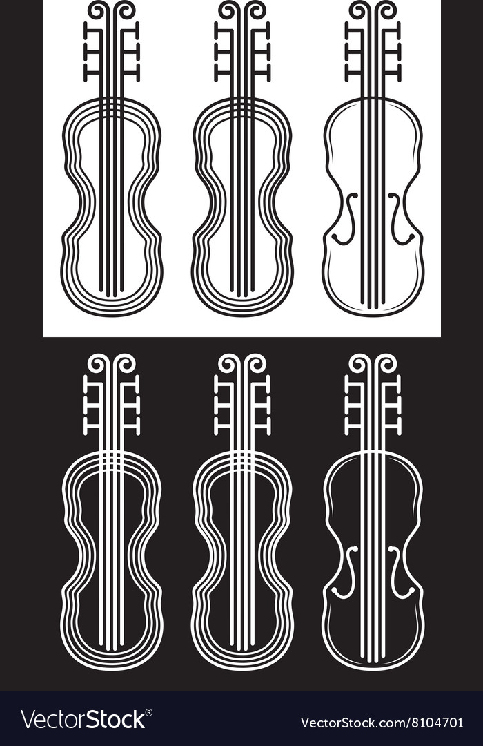 Violin black and white stroke