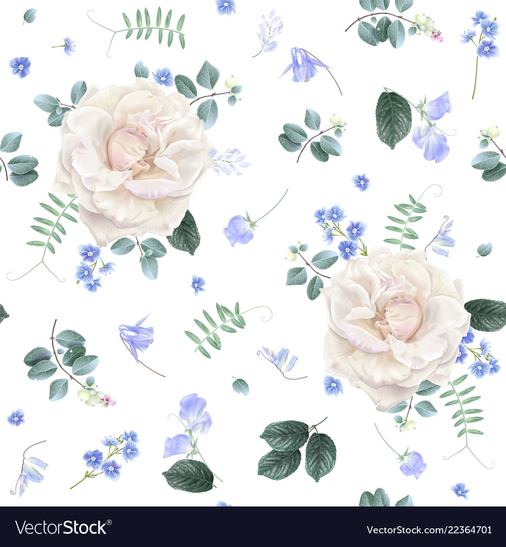 White rose and blue flower floral pattern