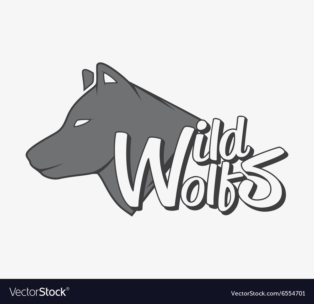 Wild wolf with grey wolf silhouette