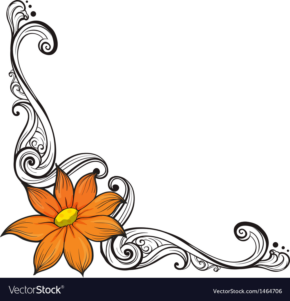 A Border With An Orange Flower Vector Image On Vectorstock