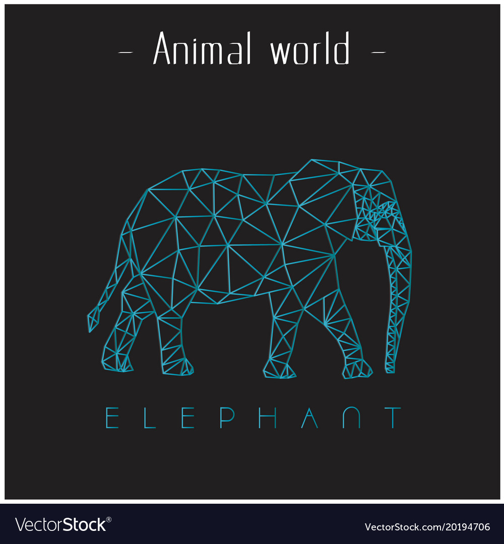 Animal world elephant polygon triangle elephant li vector image
