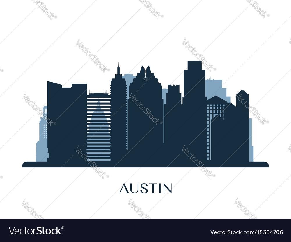 Austin skyline monochrome silhouette vectorimage