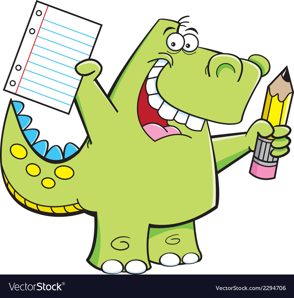 Cartoon Student Dinosaur vector image