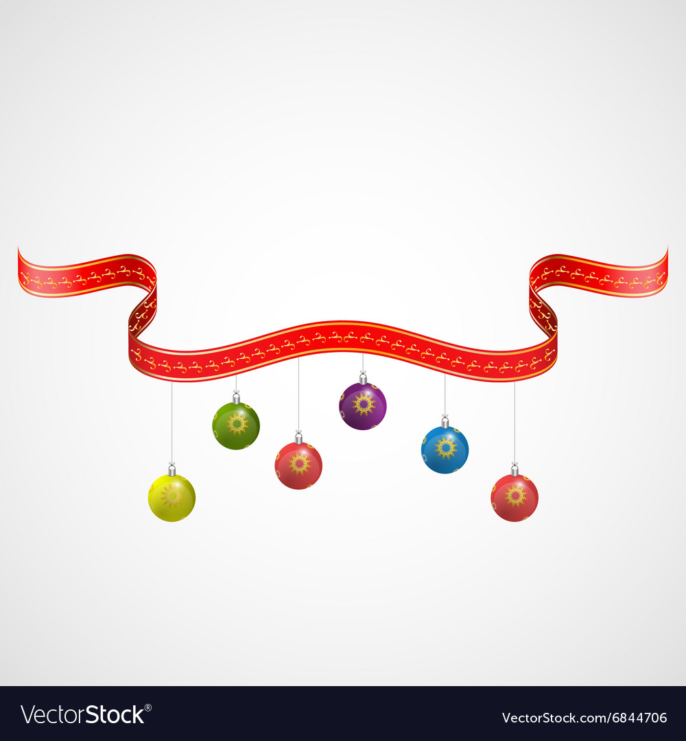Christmas balls decoration with red golden ribbons