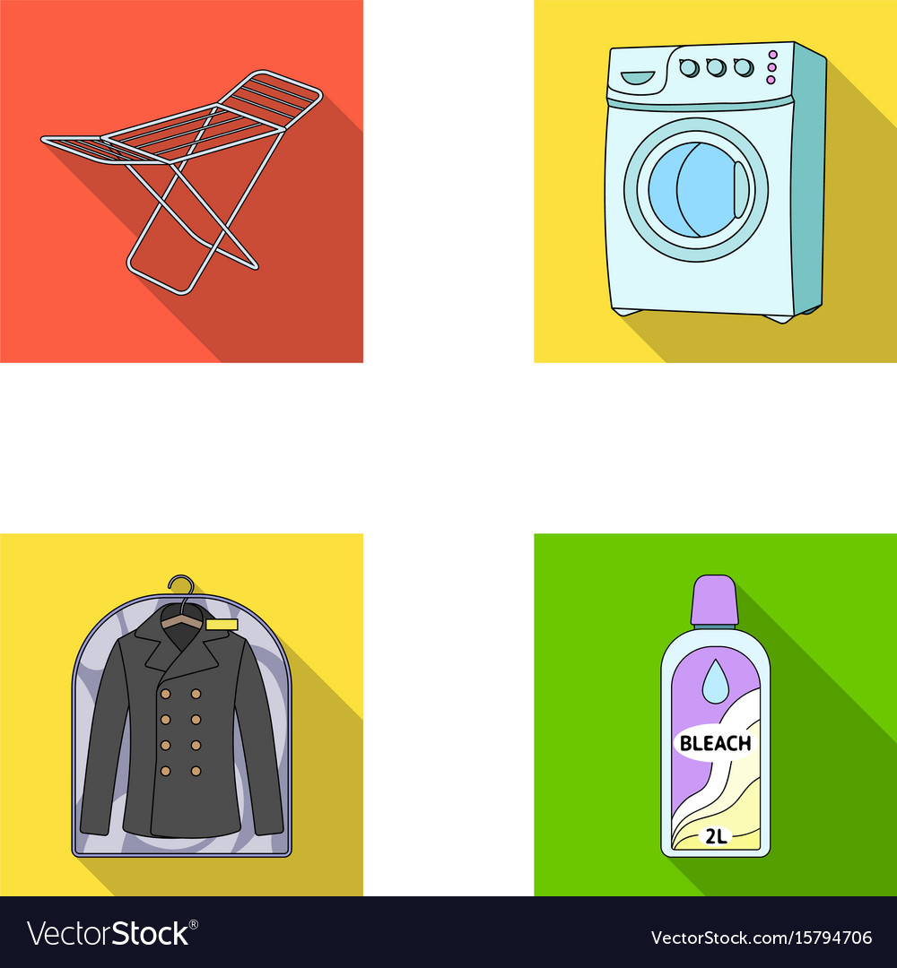 Dryer washing machine clean clothes bleach dry vector image
