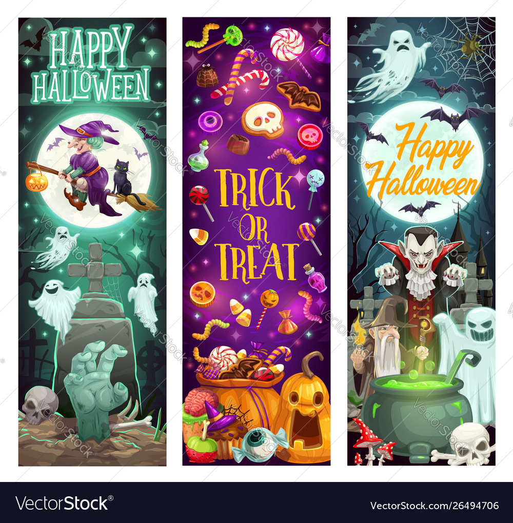Halloween trick or treat cartoon witch monsters