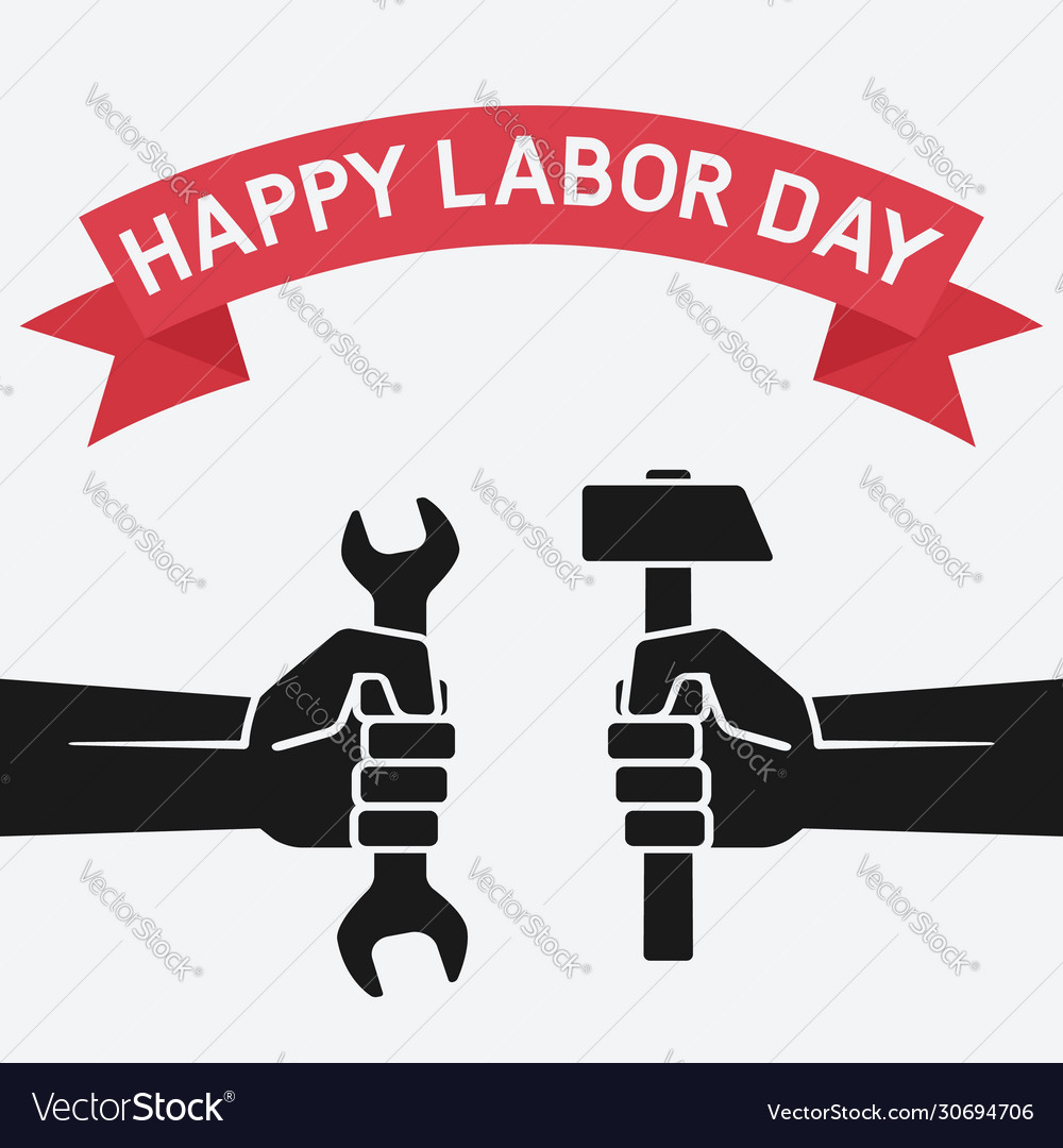 Happy labor day concept hands holding hammer and