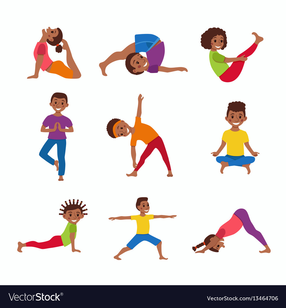 Kids exercise poses and yoga asana set Royalty Free Vector