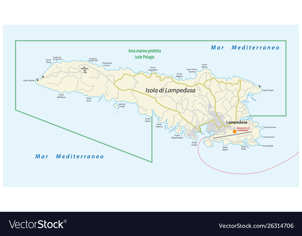 Map Of Italy And Islands.Road Map Italian Island Lampedusa