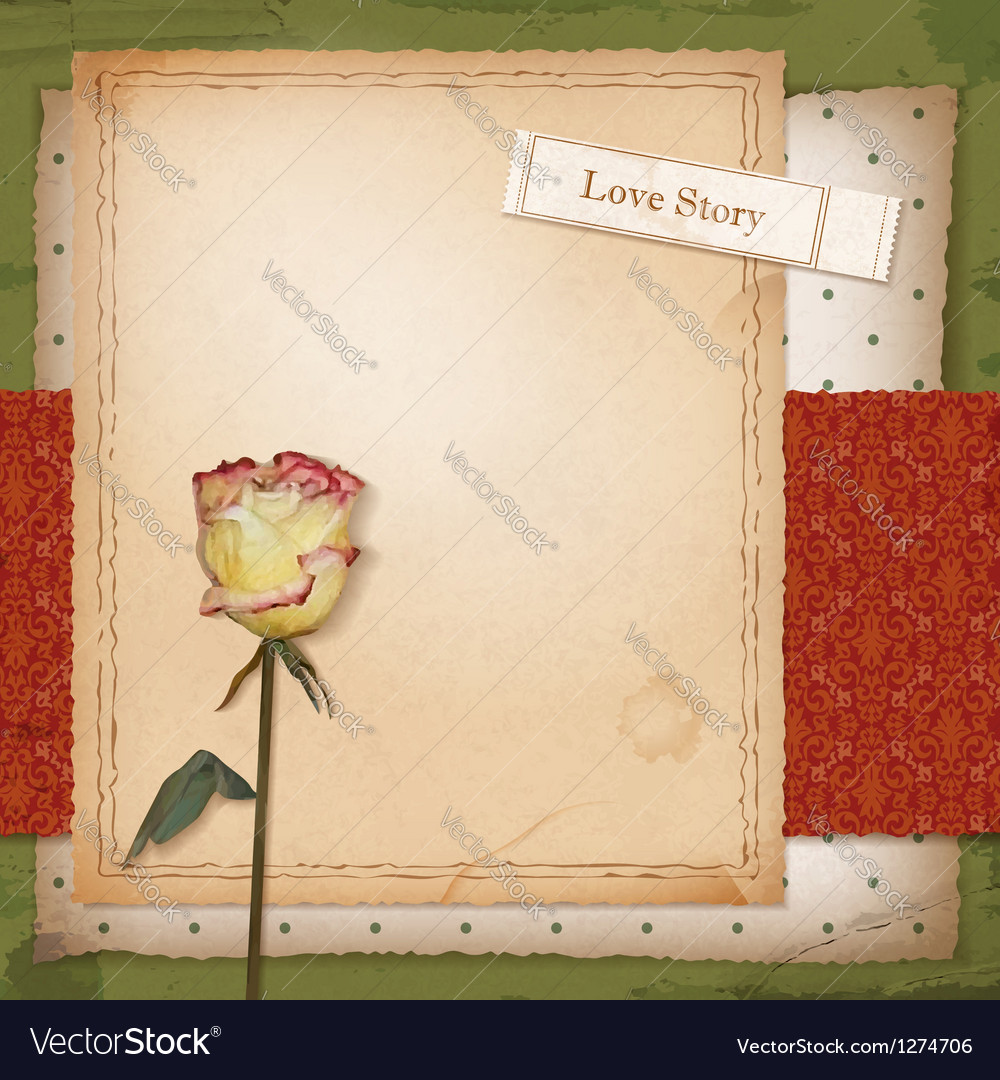Scrapbook old paper background with dried rose vector image