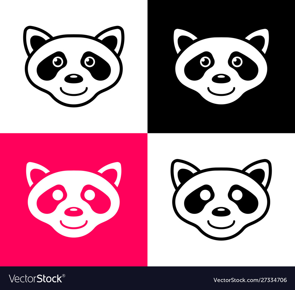 Set raccoon icons in simple flat design