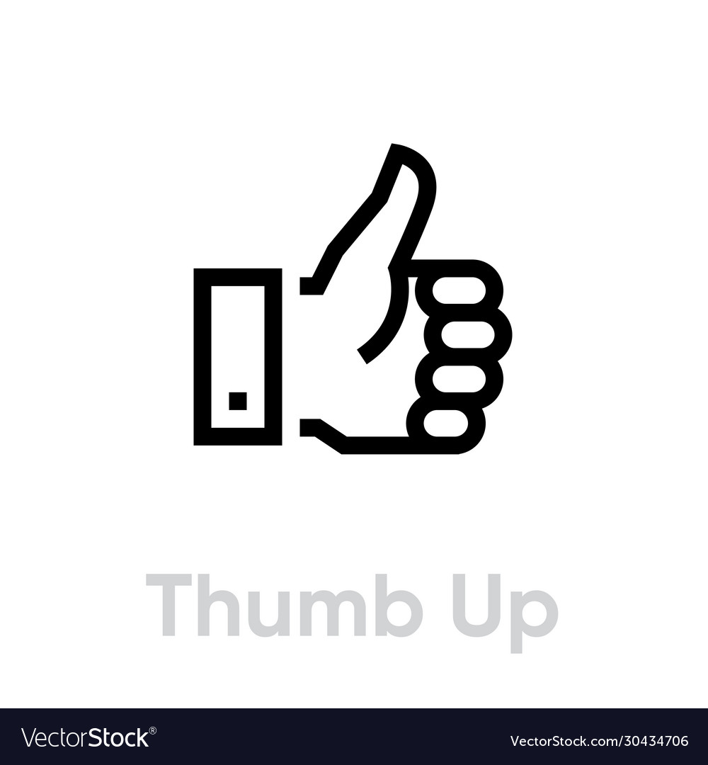 Thumb up down icon editable line