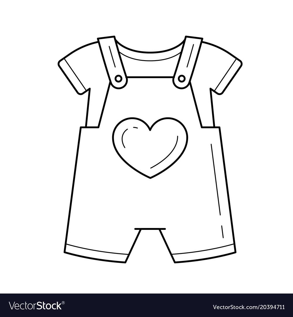 Baby romper line icon