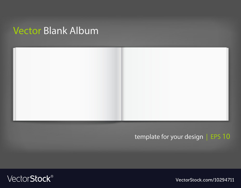 Blank of open album on grey background Template
