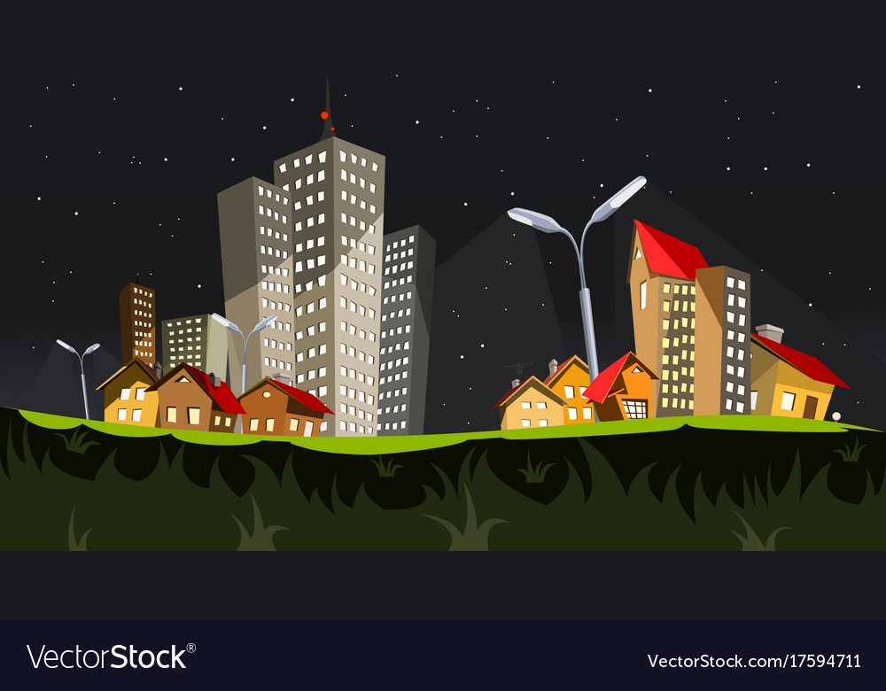City in the night art vector image