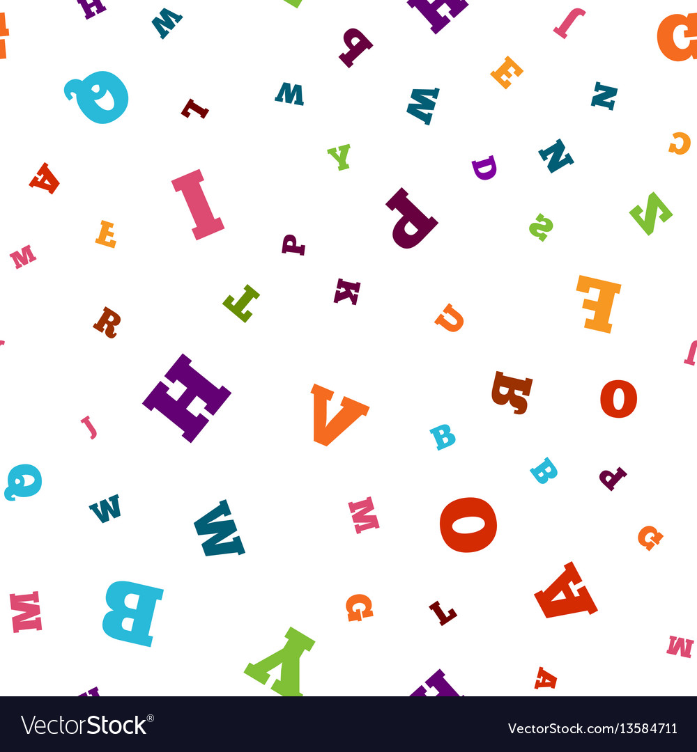 Colorful letter seamless pattern on white