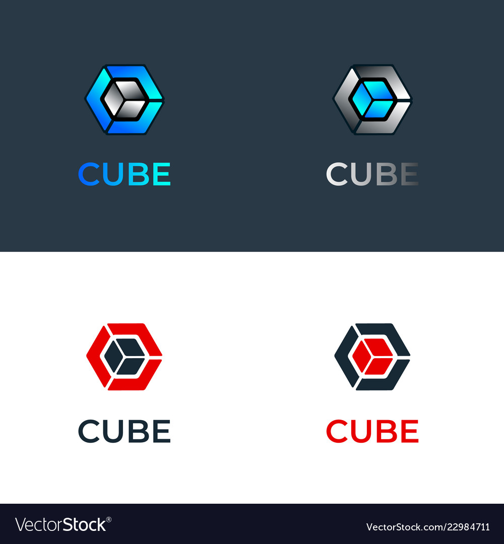 Colourful blue glass cubes logo template
