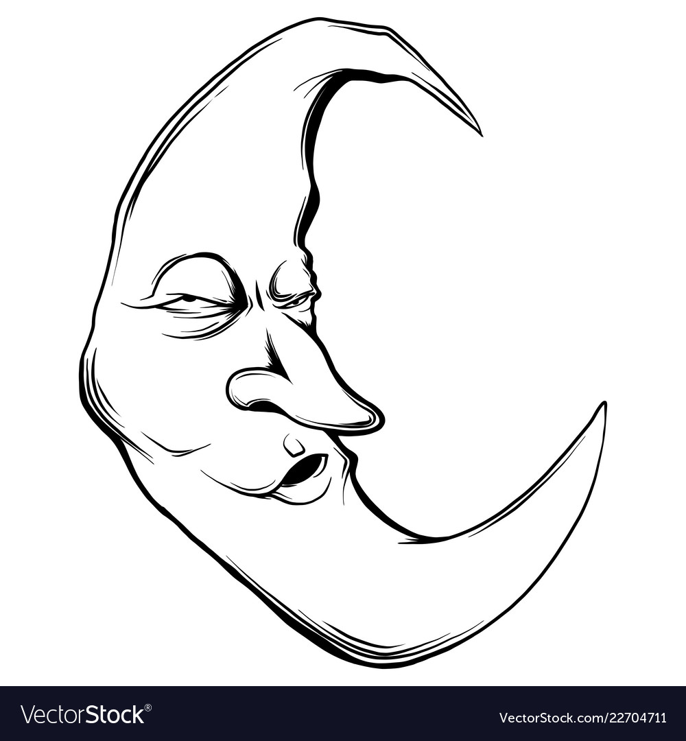 crescent moon face in white royalty free vector image vectorstock