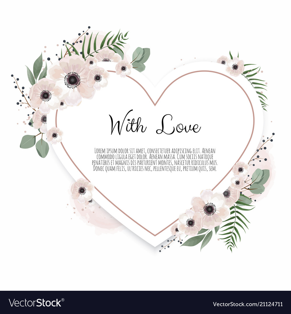 Floral heart with decorative flowers valentines