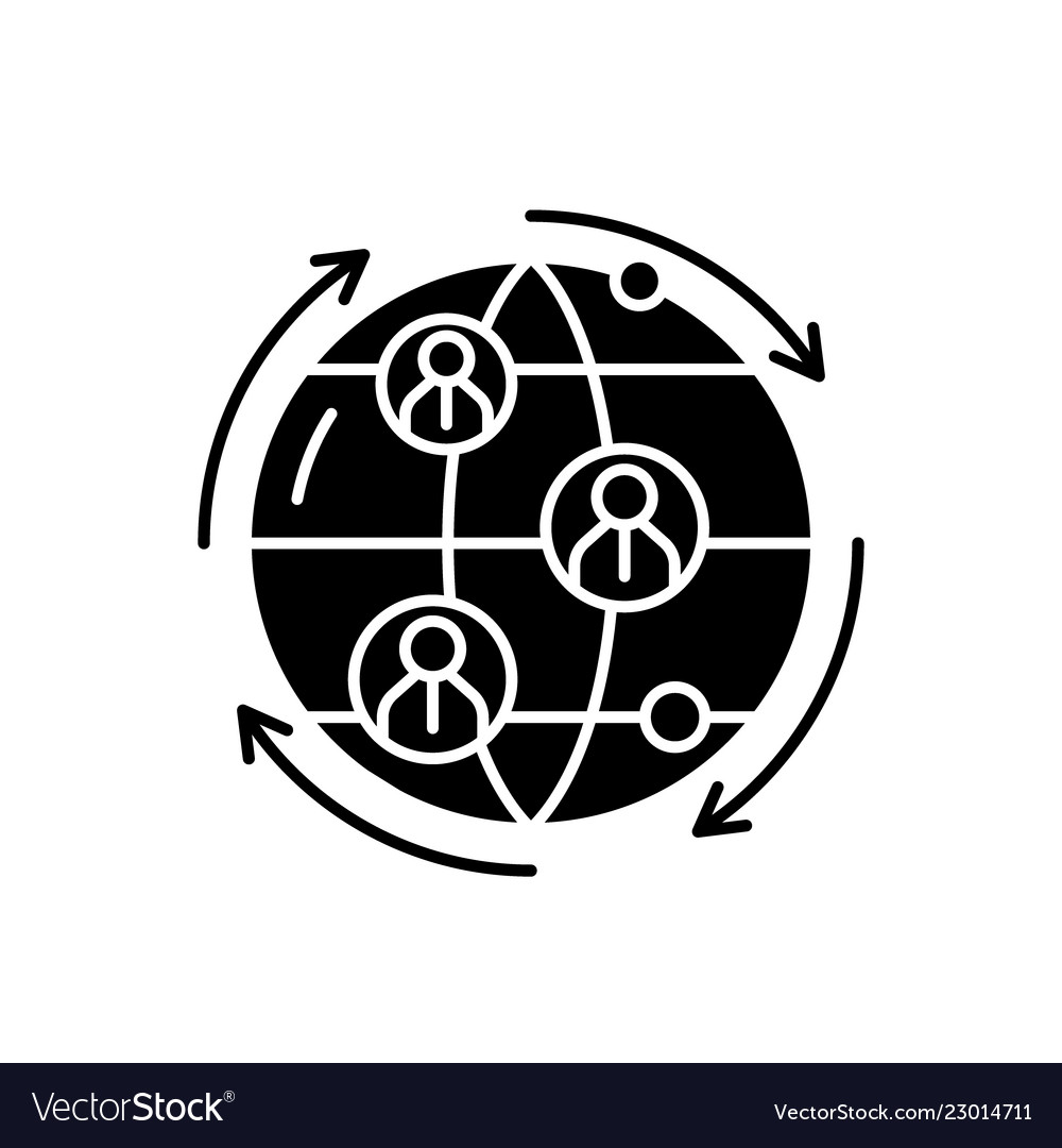 Global business connections black icon