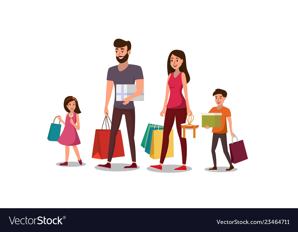 89d9a628bd529 Happy young family shopping flat concept Vector Image