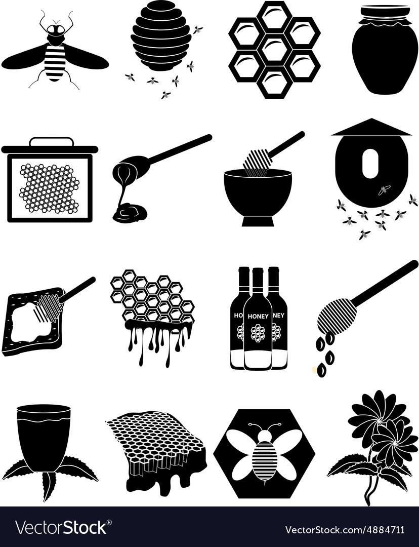 Honey Bees icons set