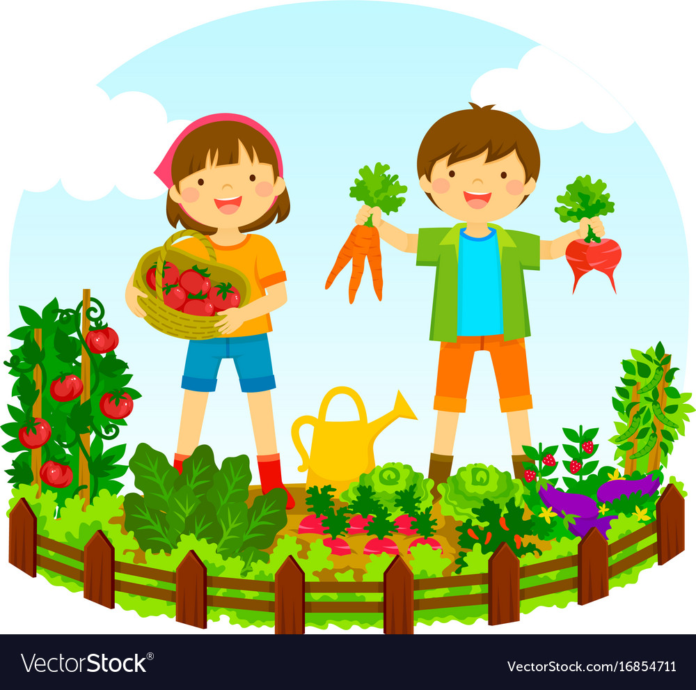 Kids in a vegetable garden Royalty Free Vector Image