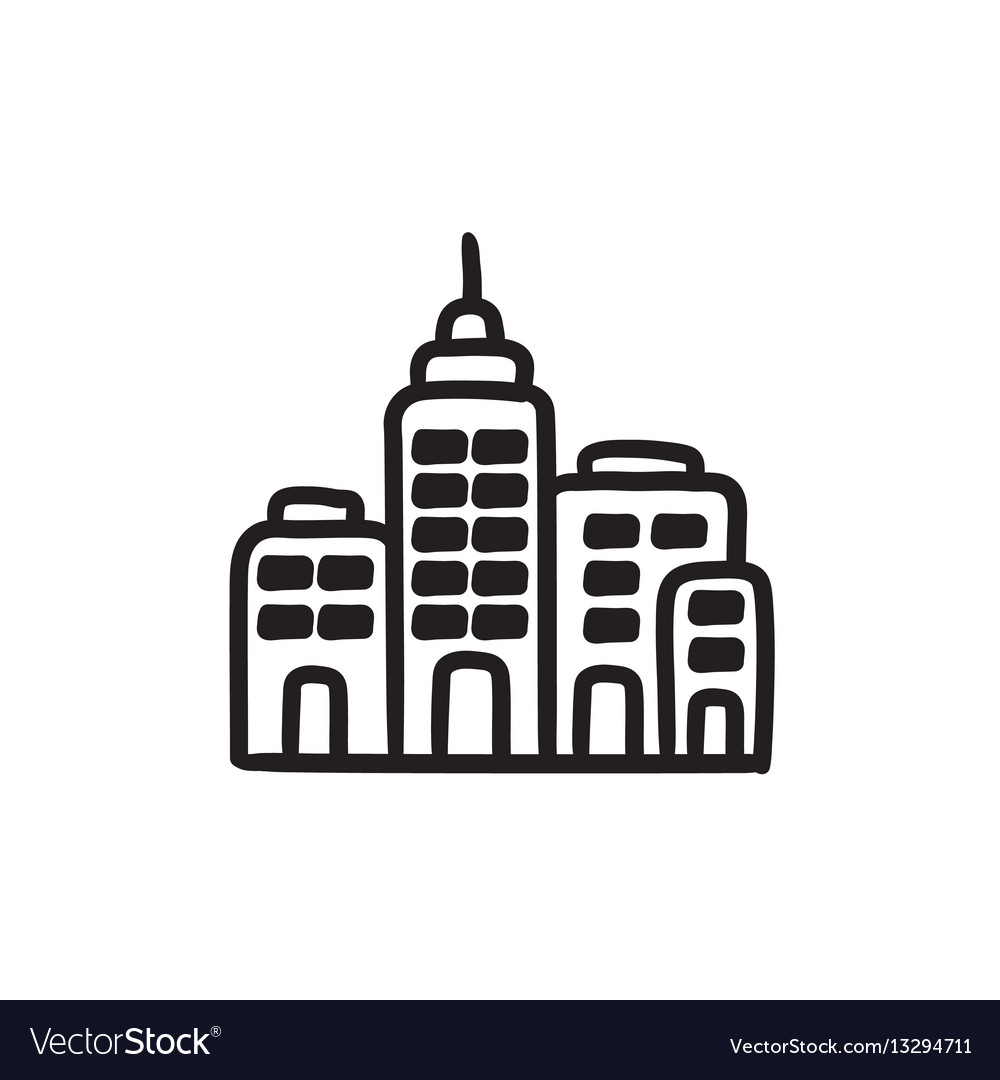 Residential buildings sketch icon