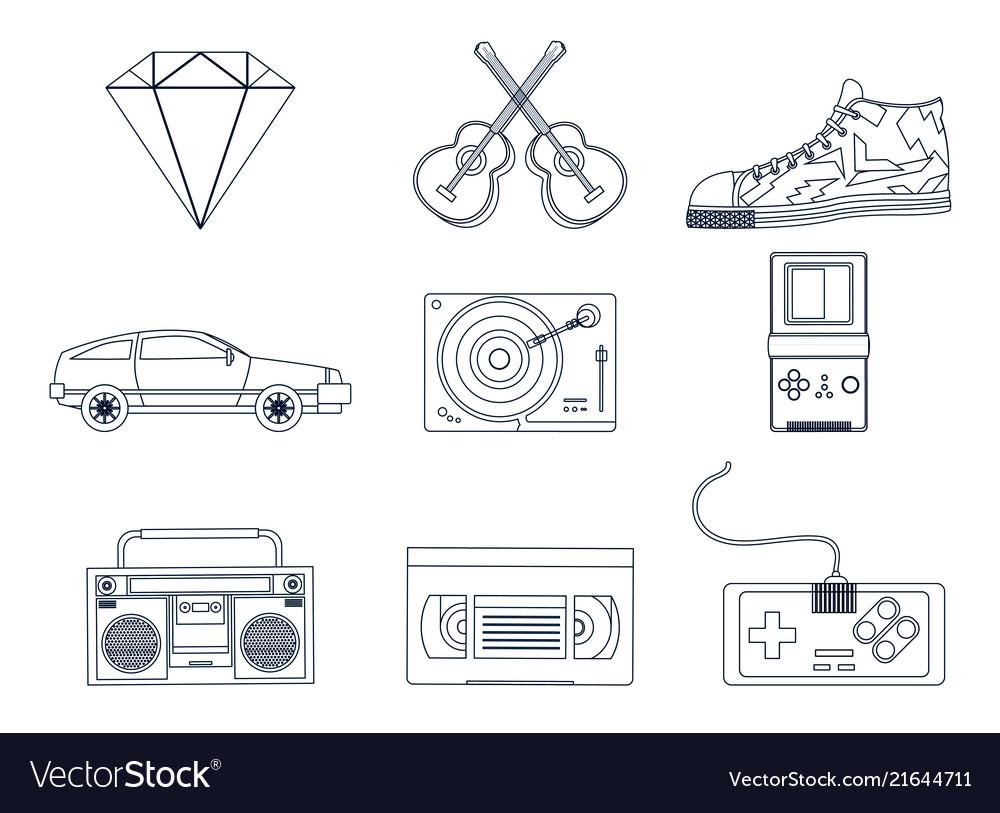 Retro elements icons