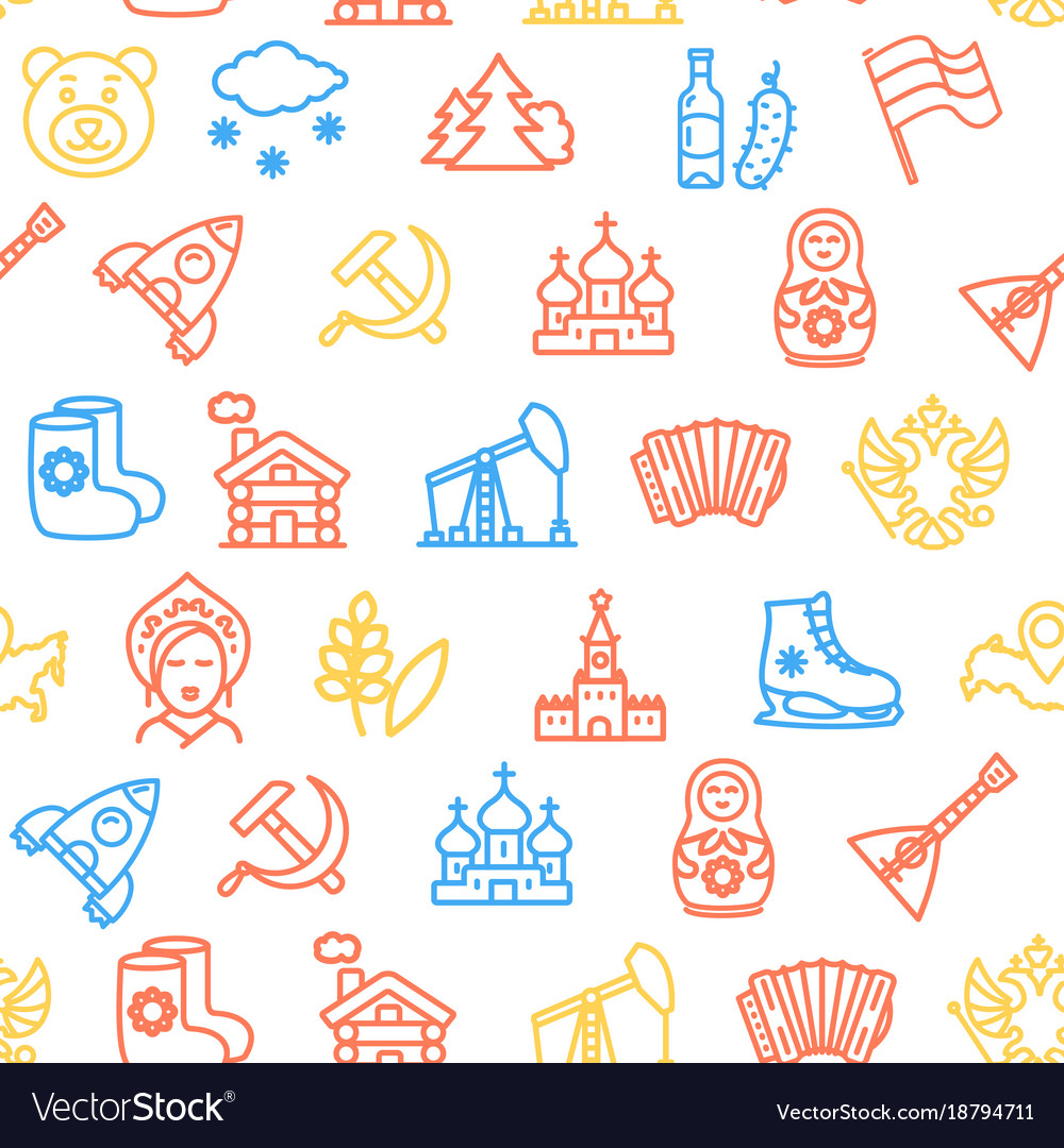 Russia travel and tourism pattern background on a
