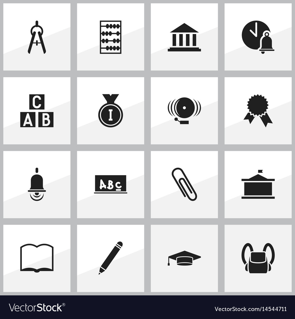 Set of 16 editable university icons includes