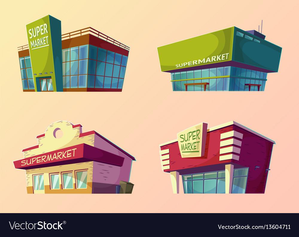 Set of cartoon buildings of modern