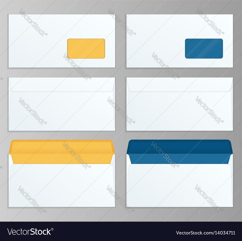 Set of dl envelopes mockup front and back view for
