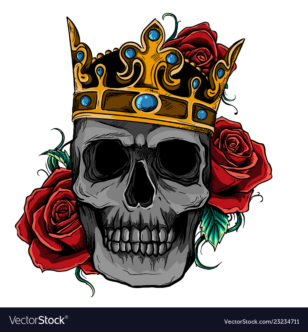 Skull wearing a king crown