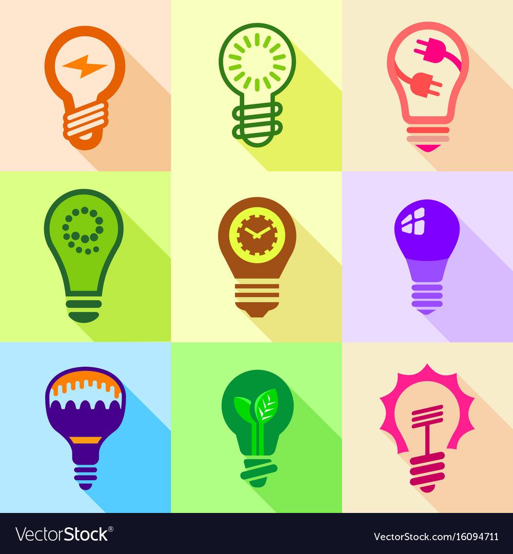 Stylized light bulb icons set flat style