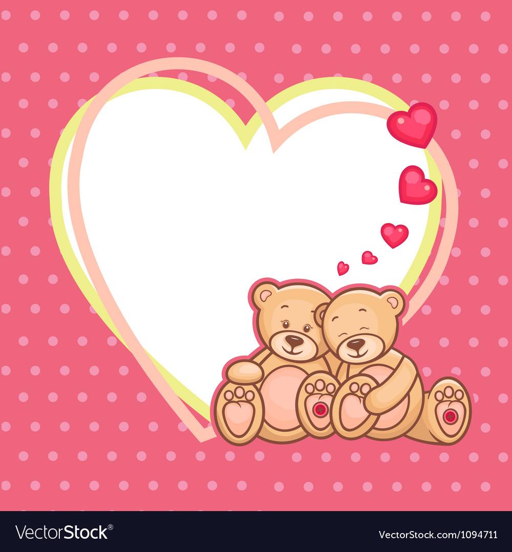 Valentine teddy bears frame