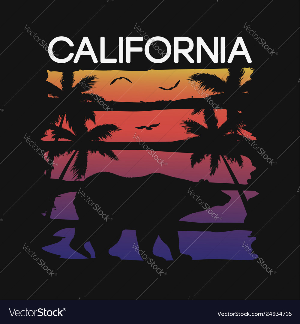 California slogan for t-shirt typography with bear