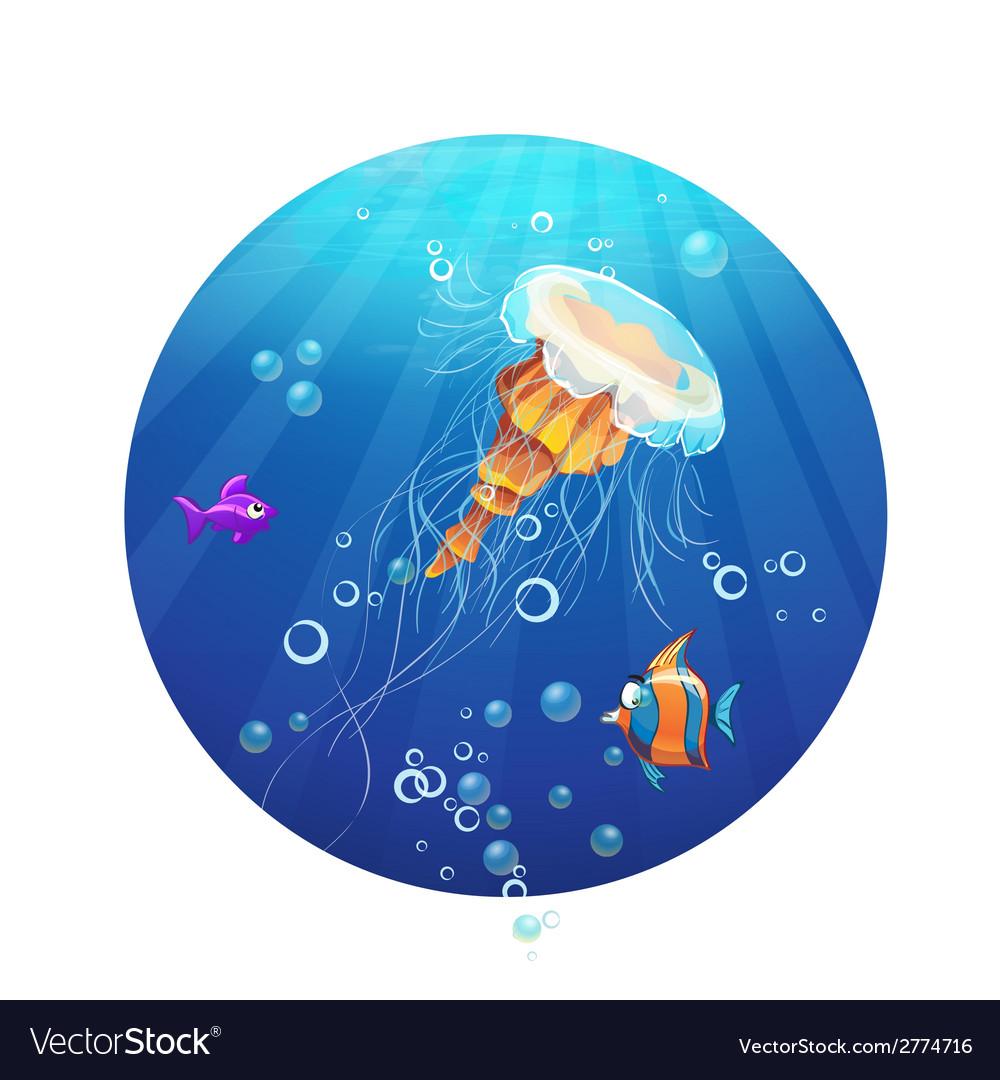 Cartoon image a jellyfish and sea fish