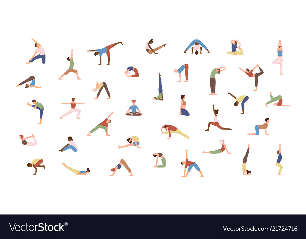 Crowd of tiny people performing yoga exercises