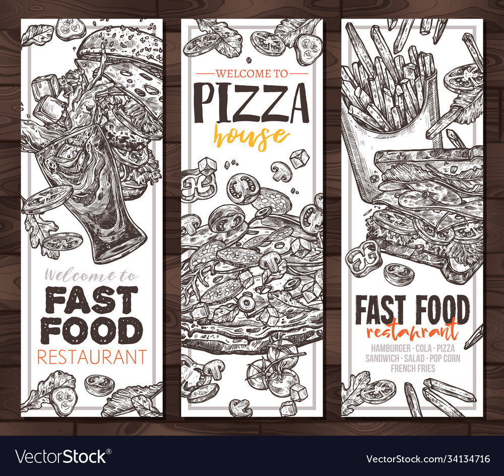 Fast food monochrome vertical banners