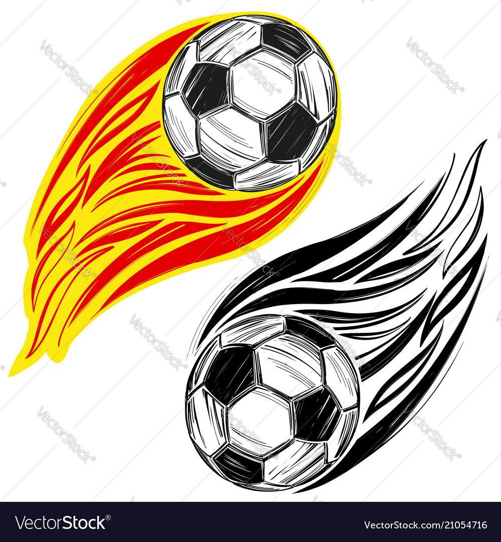 Football soccer ball flame sports game emblem