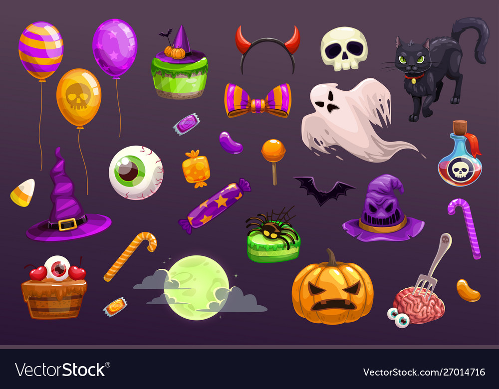 Halloween items set spooky elements for