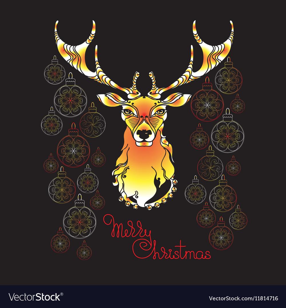 Hand drawn cute Christmas deer Xmas symbols vector image