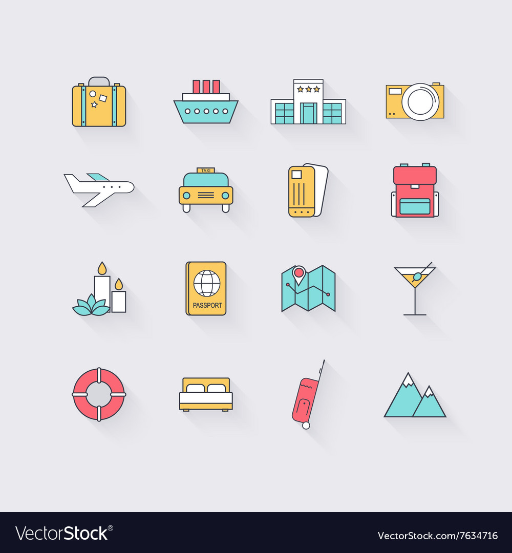 Line icons set in flat design elements vacation