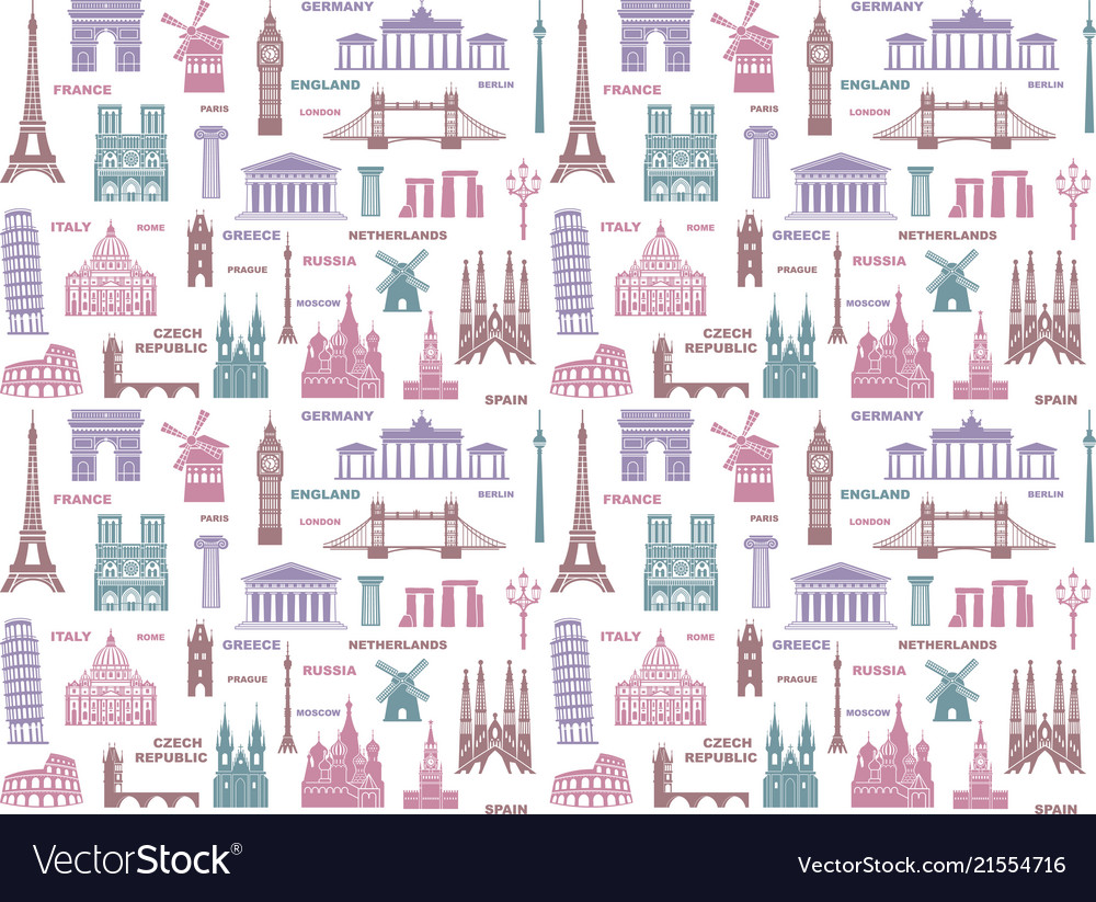 Seamless background with european architectural
