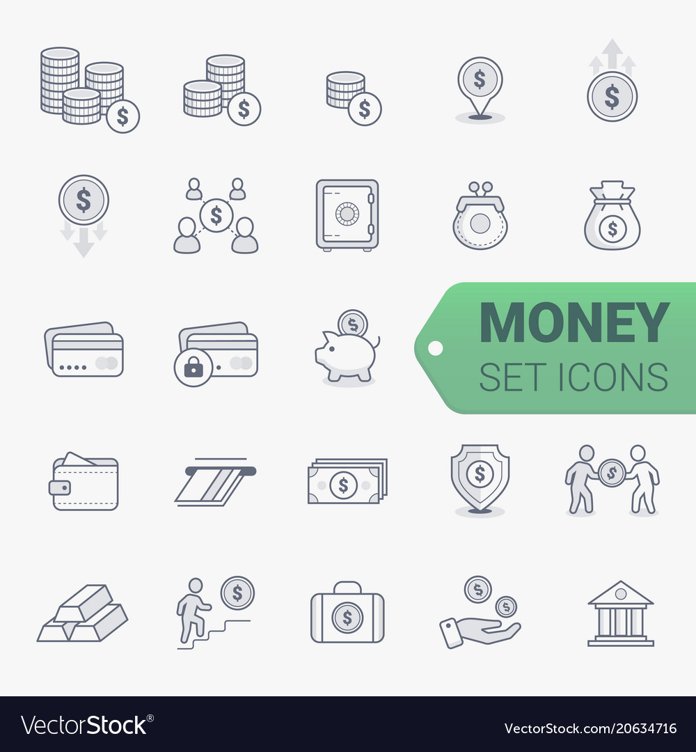 Simple set of money related line icons