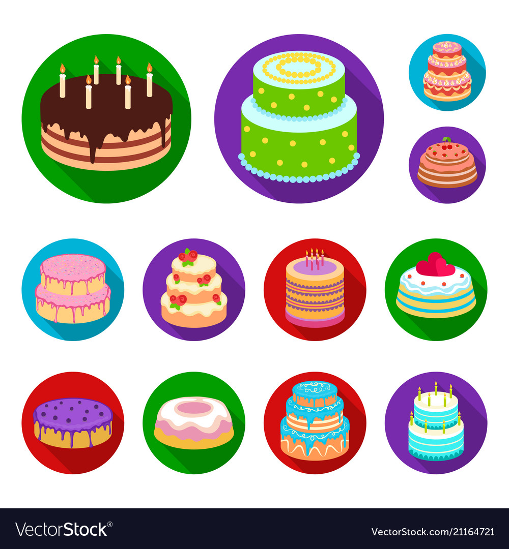 Cake and dessert flat icons in set collection for